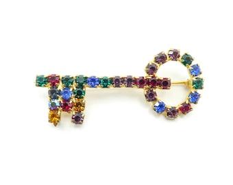 Vintage Rhinestone Key Brooch, Multicolored, Gold Tone