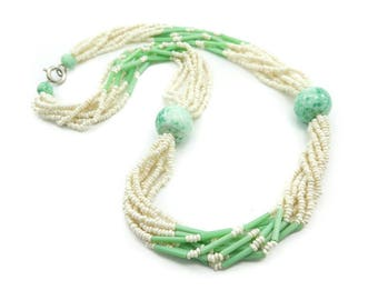 Vintage Torsade Necklace, Green, Cream Seed Beads, Circa 1950