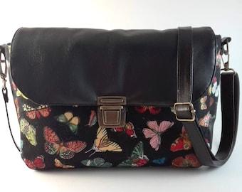 leather bag, messenger bag shoulder bag, bag leather, skin, banolera, crossover bag, butterflies, butterfly