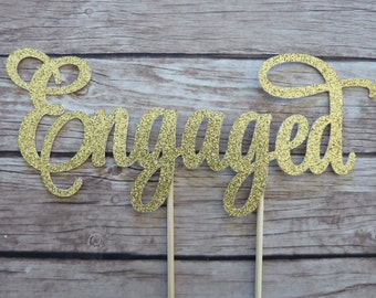 Engaged Cake Topper Banner - engagement cake topper, bridal shower decor, gold cake topper, hen's cake topper