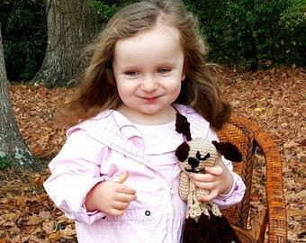 Crocheted Puppy Dog Lovie Lovey Baby Blanket Blankie