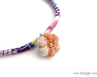 Silk Kimono Plum Charm for Kimono Bracelet, Japanese silk fabric, a Japanese silk kimono Ume blossom charm plm