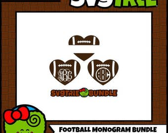 Football Monogram SVG Football Heart SVG SVG Bundle Commercial Free Cricut Files Silhouette Files Digital Cut Files svg cut files