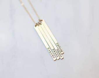 Name Bar Vertical Tag Necklace // Long Bar Necklace // Family Tree Name Necklace // Personalized Gift for Mother Sister Grandma
