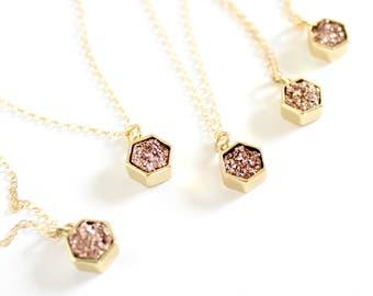 Hexagon necklace - rose gold druzy necklace - tiny necklace - simple gold necklace - rose gold bridesmaid necklace - minimalist necklace