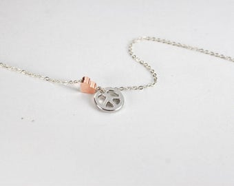 Give peace a chance Peace sign necklace- Peace necklace-peace sign jewelry, I love Peace Jewelry. Peace Sign Necklace - Peace Charm Pendant