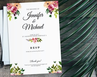 Floral Wedding Invitation - Editable Wedding Invitation PDF - Watercolor Flowers Wedding Invitation - Instant Download Editable Card