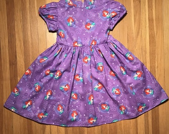 Disney Princess The Little Mermaid Ariel Girls Purple Dress Size 2T, 4T