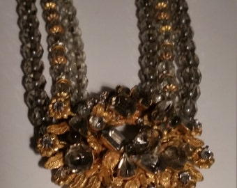 DeMario NY, Signed, Haskell Style, Vintage Multistrand Crystal Necklace