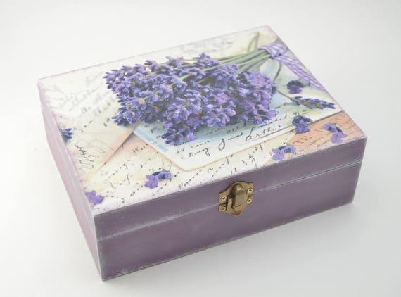 Decoupage tea box jewelry box wooden box tea box purple