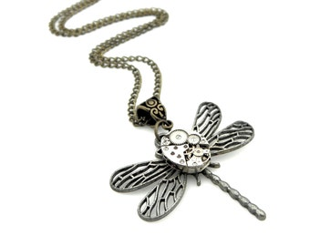 Dragonfly Pendant - Clockpunk Dragonfly Necklace - Insect Jewelry - Steampunk Dragonfly Pendant - Steampunk Gift Idea For Her