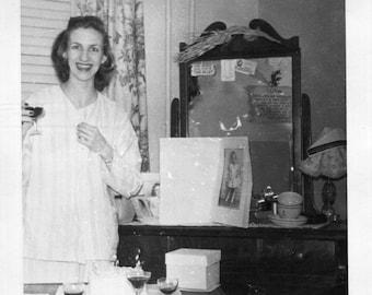 Vintage Photo..Care for a Nightcap?, 1940's Original Found Photo, Vernacular Photography