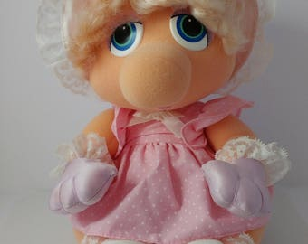 Baby Miss Piggy Hasbro Softies Stuffed Plush Toy Doll Muppet Babies 1980s - 10 Inches