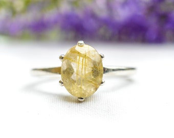 Natural Oval Cut Rutilated Quartz Ring in 925 Sterling Silver *Free Worldwide Shipping*