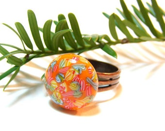 Boho Chic Glass Ring, Millefiori Ring, Vintage Japanese Cabochon, Glass Orange Ring, Spring Colors Ring, Mothers' day, Adjustable Ring