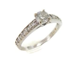 14k Diamond Engagement Ring White Gold .51 ctw Contemporary Vintage