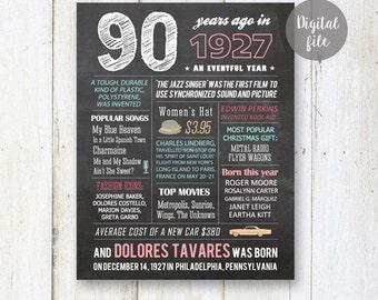 90th birthday gift for grandparents - Chalkboard wall art - Custom 90th Birthday Gift for grandma -  Fun Facts 1927 - DIGITAL file!