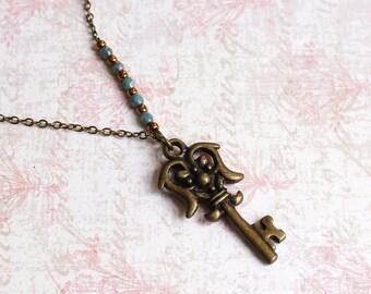 Skeleton Key Necklace, Antique Key Necklace, Small Key Necklace, Vintage Inspired Key Necklace, Bronze Key Necklace, Bronze And Turquoise