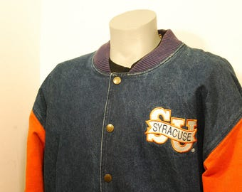 90s Syracuse University denim jacket heavy snap up Front Row orange blue coat sports college embroidered basketball football lacrosse