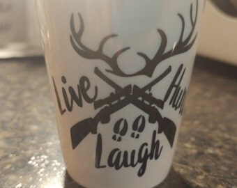 Live laugh hunt shot glass