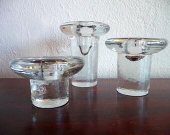 Set of 3 Blenko 877 Candleholders Mid Century Modern Art Glass