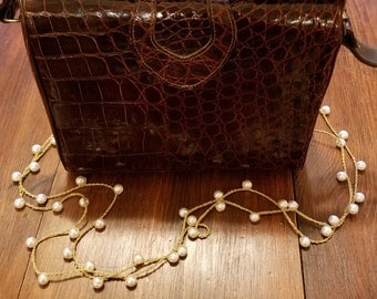 Vintage Alligator Leather Handbag  #3