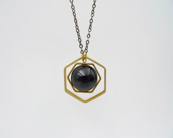 Long necklace,  hexagon necklace, black Agate and raw brass necklace, Long geometric necklace