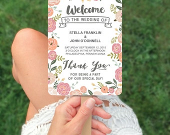 Wedding Programs - DIY Printable - Vintage Rose Wedding Program Fan - Editable Wedding Program - DIY Program - Instant Download - Rustic