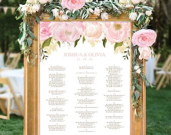 Wedding Seating Chart - Editable PDF - Table Arrangement Sign - DIY Wedding Seating Sign - Pink Floral - Wedding - Instant Download