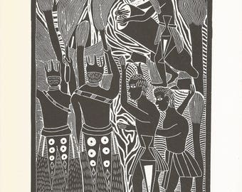 "Book Plate of John Muafangejo's ""Kuanyama Wedding"". 1970s"