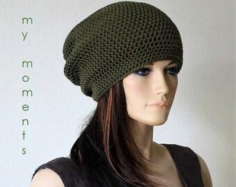 Slouch cSummer Crochet HAT Cotton khaki