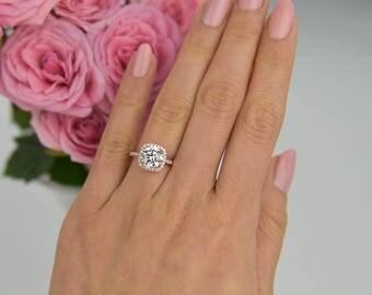 225 Ctw Classic Square Halo Engagement Ring Wedding Man Made Diamond Simulant