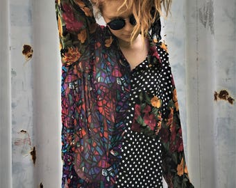Vintage 90's multicolored sheer long sleeved button down shirt...
