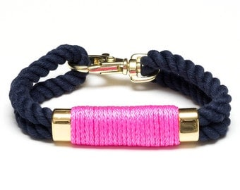 Nautical Rope Bracelet / Neon Pink Rope Bracelet / Navy Blue Rope Bracelet / Gold Nautical Bracelet / Nautical Jewelry / Nautical Gift