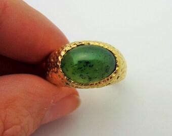 Vintage Estate Men's Nephrite Jade Textured 14k Yellow Gold Ring Sz 10