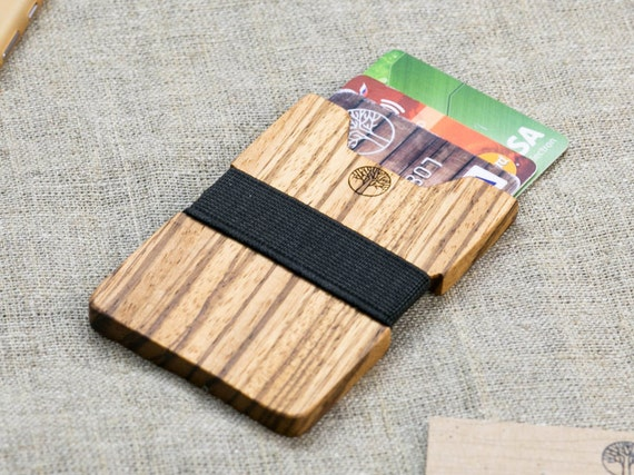Wood wallet, Zebra wood  SLIM Minimalist Wallet, Card holder, Best for boyfriend's gift , Slim & Light wallet, Mini Mens wallet  + Engraving