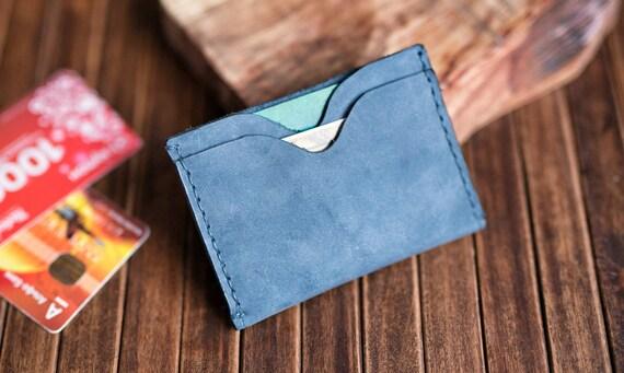 Wallet, Minimalist Wallet, Card holder, Gift Leather Wallet, Mens Leather Wallet, Navy Blue Wallets, Groomsmen Gifts, Slim Wallets
