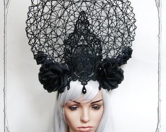 Rose Empress Headdress ( Goth , Fantasy, Headpiece )