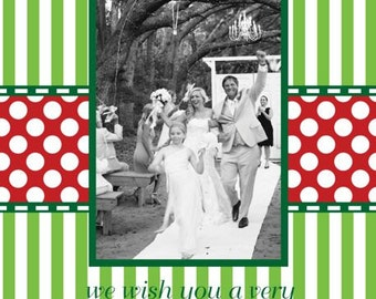Green Stripe and Red Dot Monogram Photo Christmas Card