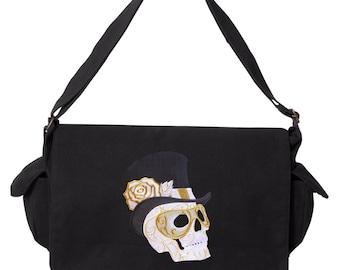 Harlequin Masquerade - Skull Messenger Bag Embroidered Canvas Cotton Messenger Bag