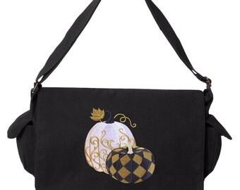 Raven Bag, Spiderweb Messenger Bag, Harlequin Masquerade - Raven Messenger Bag Embroidered Canvas Cotton Messenger Bag