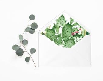 Printable Envelope Liner - Wedding Liner Envelope -Wedding Envelope -Envelope Liner Template Cactus Liner Envelope Cactus Wedding Invitation
