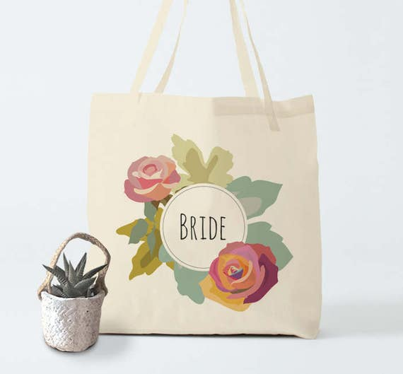 Tote bag, Bride, wedding wreath, cotton bag, groceries bag, canvas bag, bachelorette bag, gift bachelorette, gift bride
