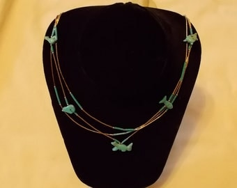 Sterling Silver Necklace with Five Turquoise Animals. (367)