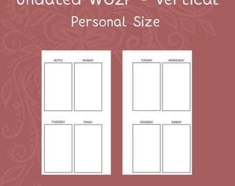 Vertical WO2P Undated Personal Size Planner Insert [DIGITAL]