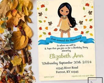 Pocahontas Birthday-Printable Invitation-Print Yourself-INSTANT DOWNLOAD-Editable-Princess-Indian-Riverbend-Leaves-Birthday-Party-invite