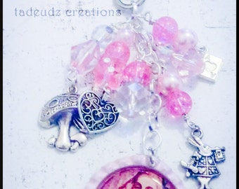 Alice Inspired Pink Beaded Bag Charm