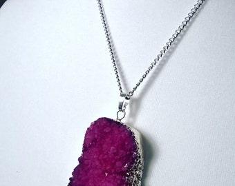 Purple druzy pendant necklace