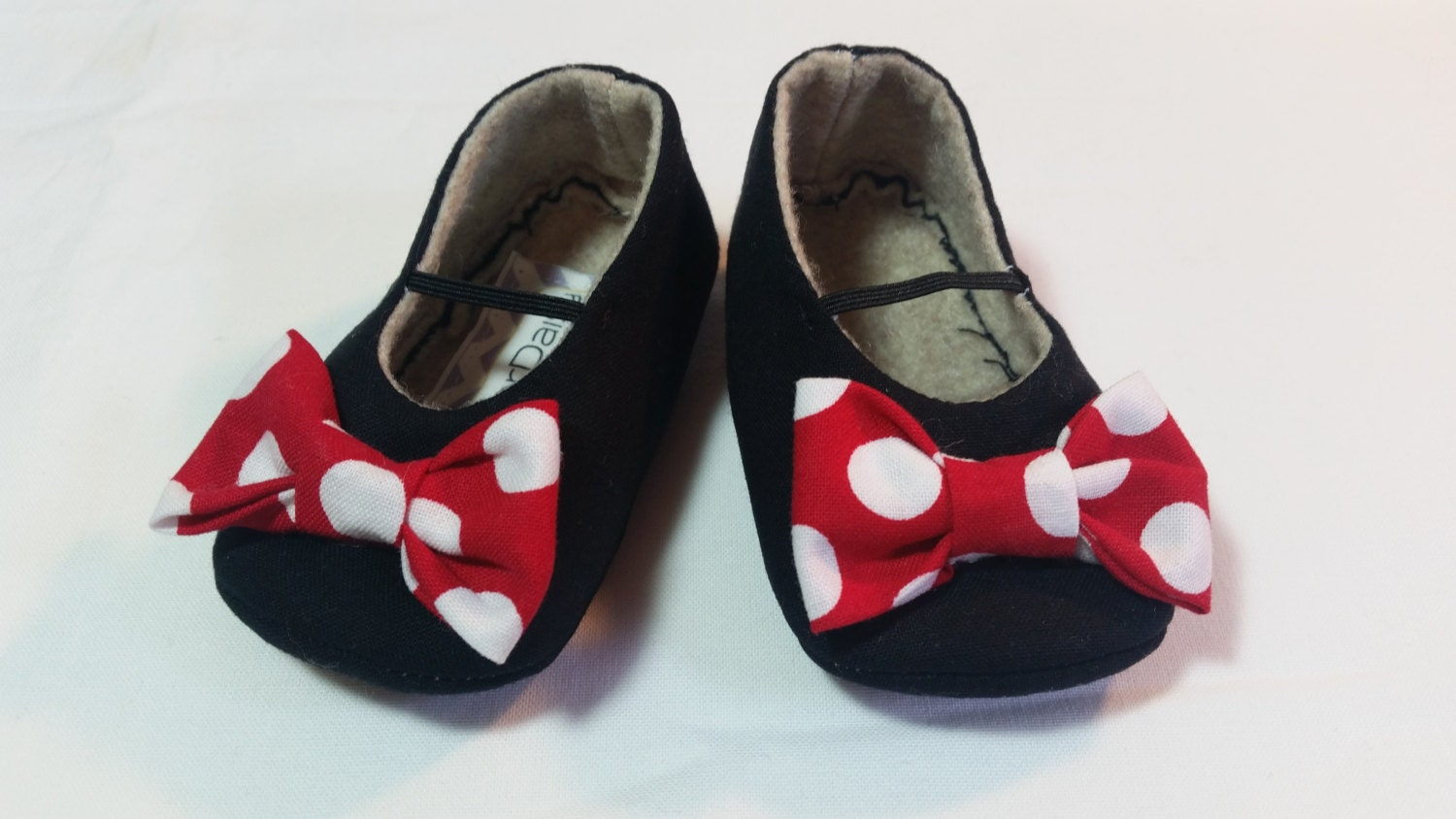 Minnie Baby Girl Shoes Black Red Bows White