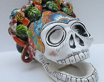 "TALAVERA CATRINA skull 7"" tree of death mexican folk art day of the dead MEXICO"